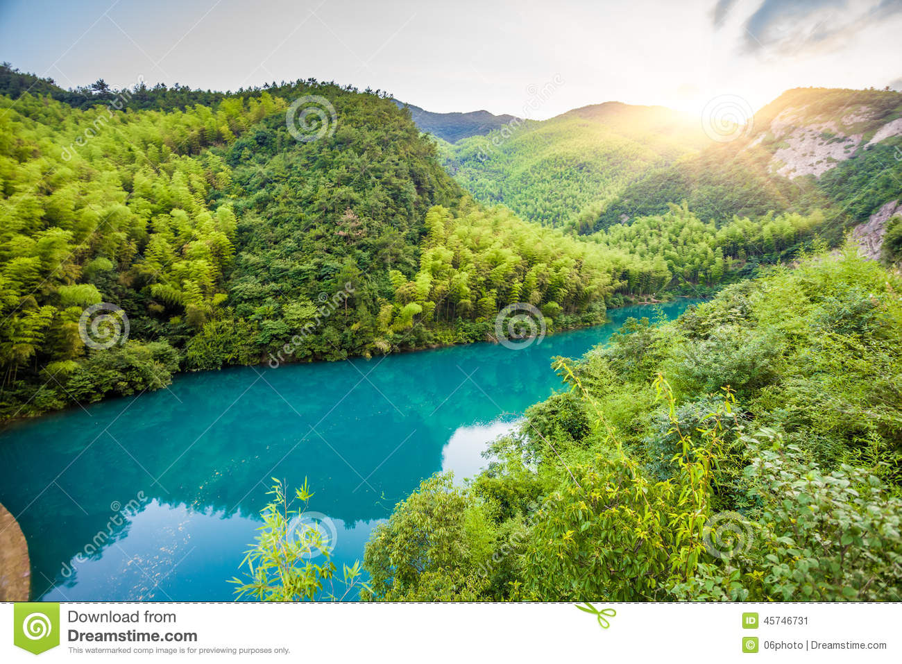 Mountains under the blue lake