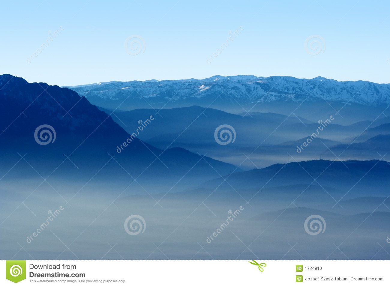 Mountains and valley in the fog
