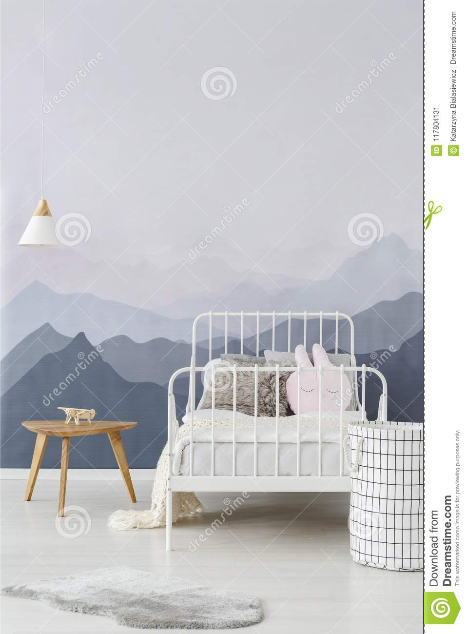 Mountains Wallpaper In Child Bedroom Stock Image Image Of Contemporary Scandi 117804131