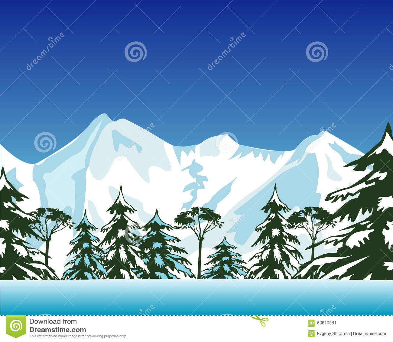 Mountains and wood in winter