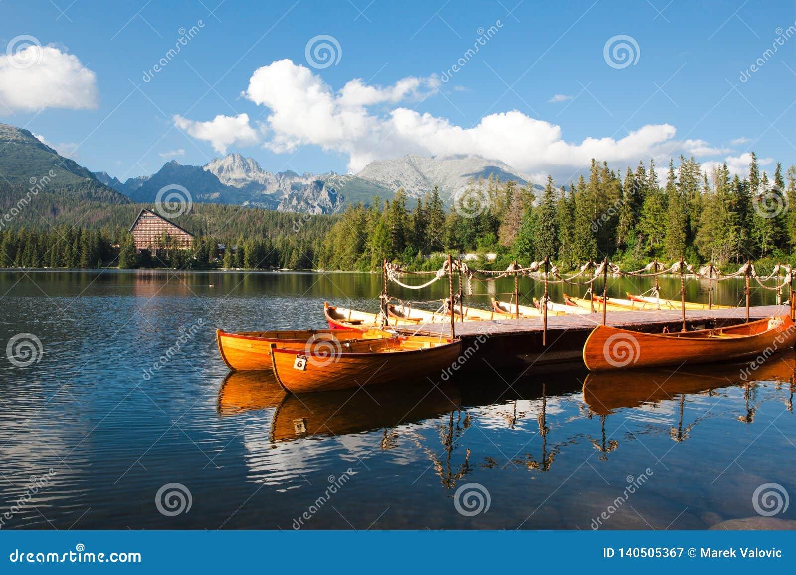 Mountainsee Strbske Pleso und Boote