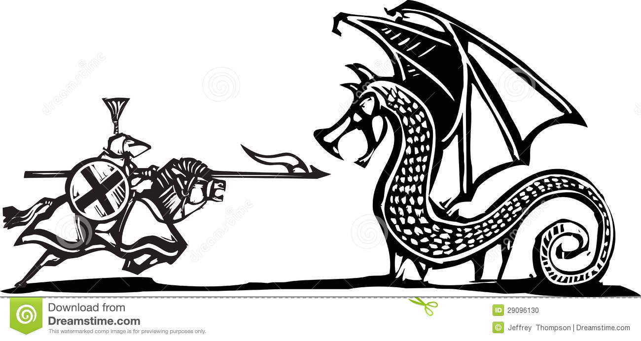 Mounted Knight And Dragon Stock Photo - Image: 29096130