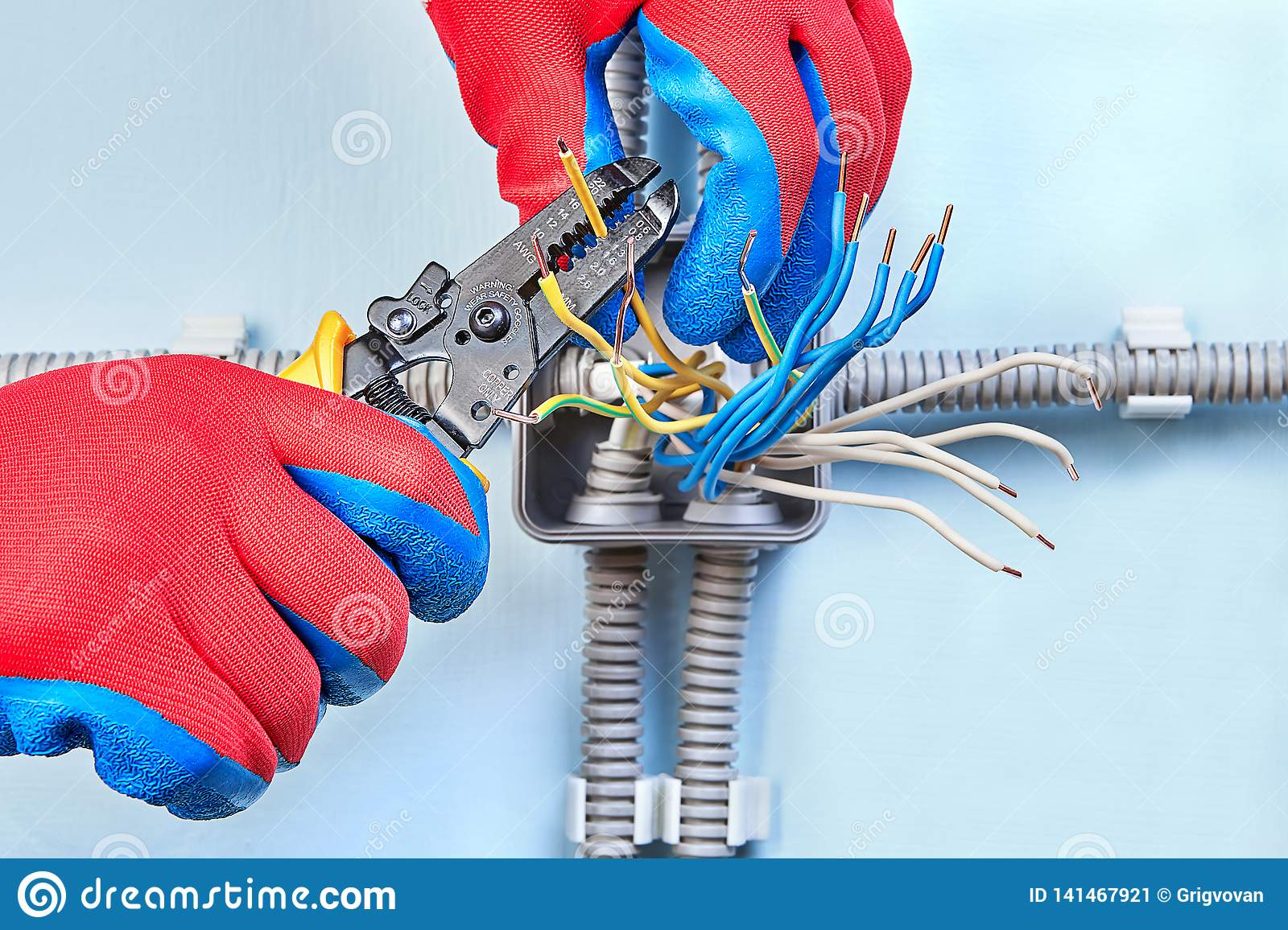 Mounting Of Electrical Wiring Junction Box Stock Image ... on
