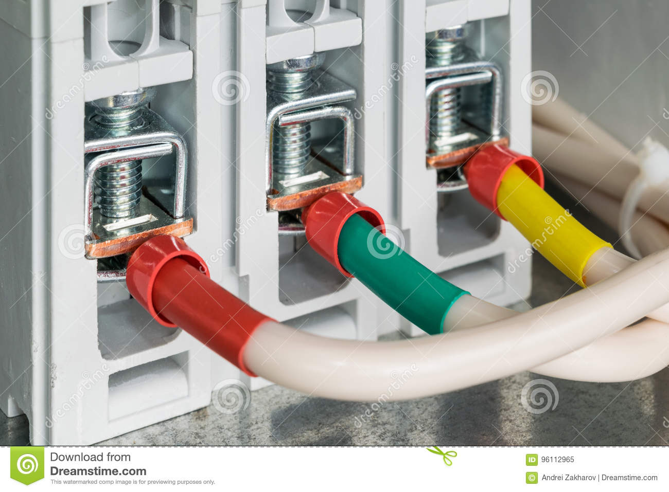 On Mounting Panel Power Circuit Breaker Connected Wires With Tips For Wiring Electric Ferrules Pressed Hometime Clips The Marked Red Green And Yellow