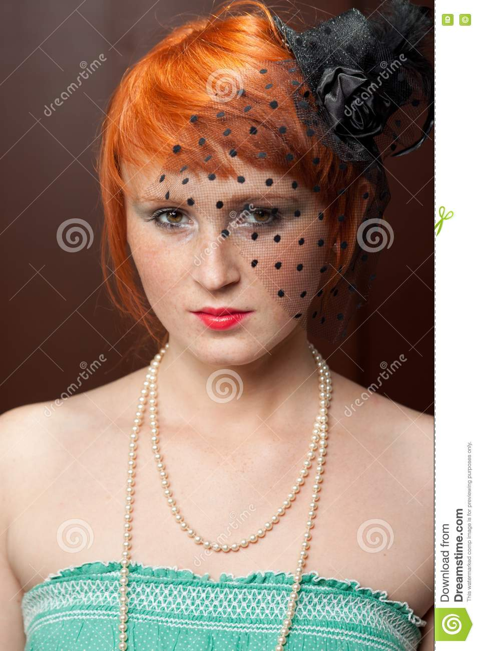 Mourning Widow Redhead With Freckles On Brown Stock Image