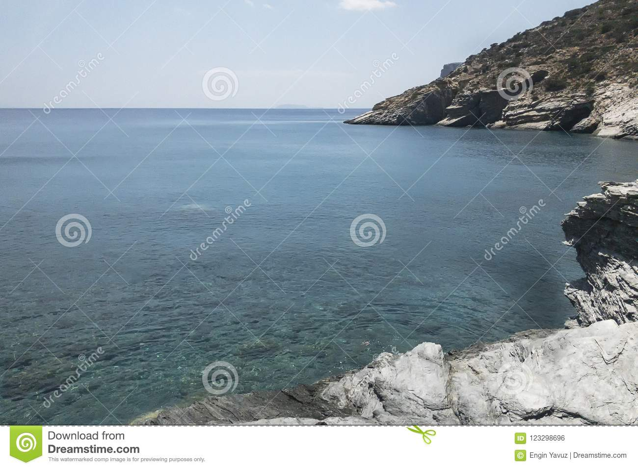 Mouros beach from virgin beaches of Amorgos island, one of the most beautiful of the Cyclades islands