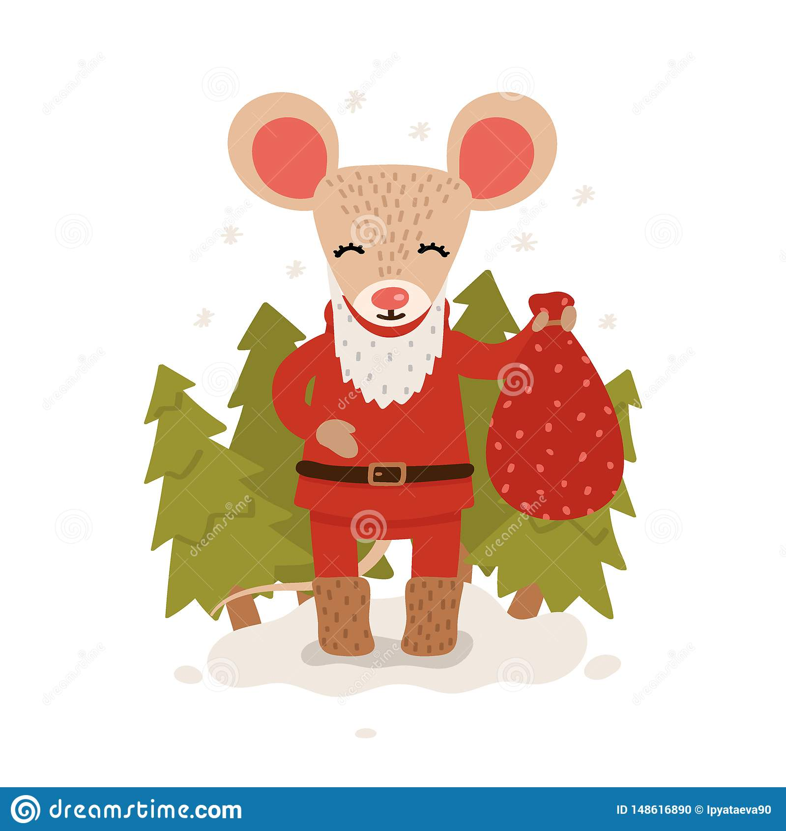 A mouse with a bag of gifts among the Christmas trees. Christmas and New Year character isolated on a white background. Postcard.
