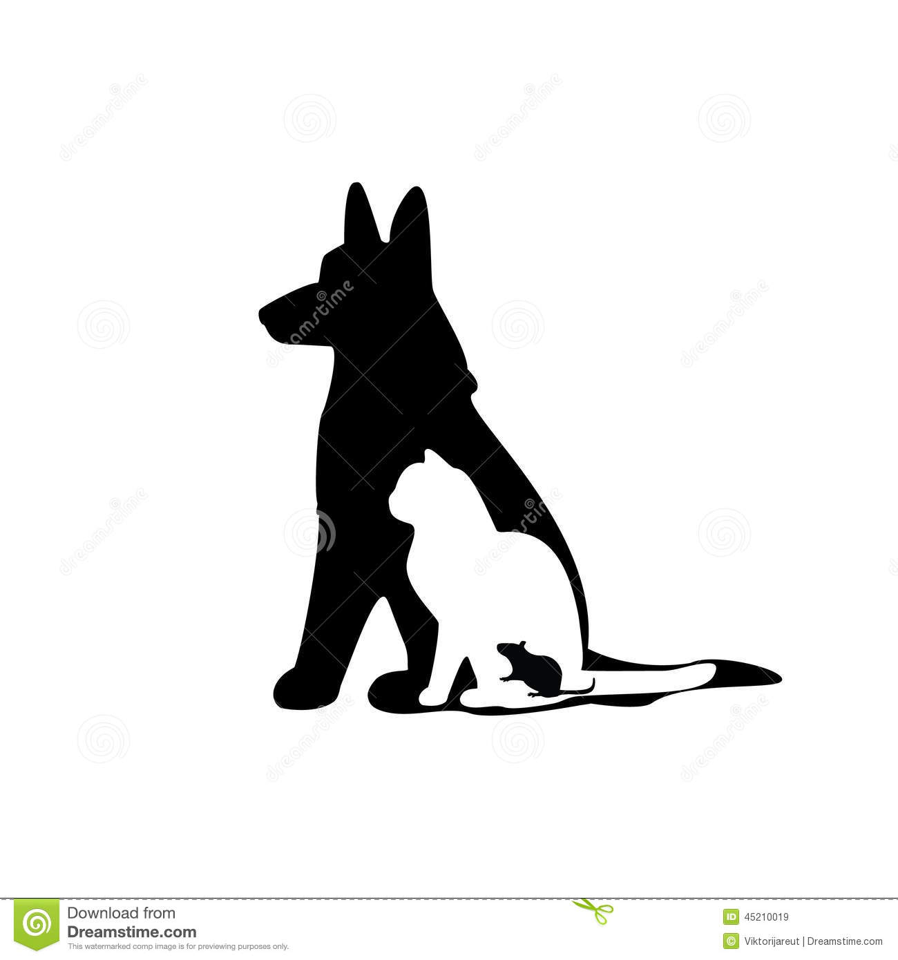 mouse cat dog silhouette stock illustration   image