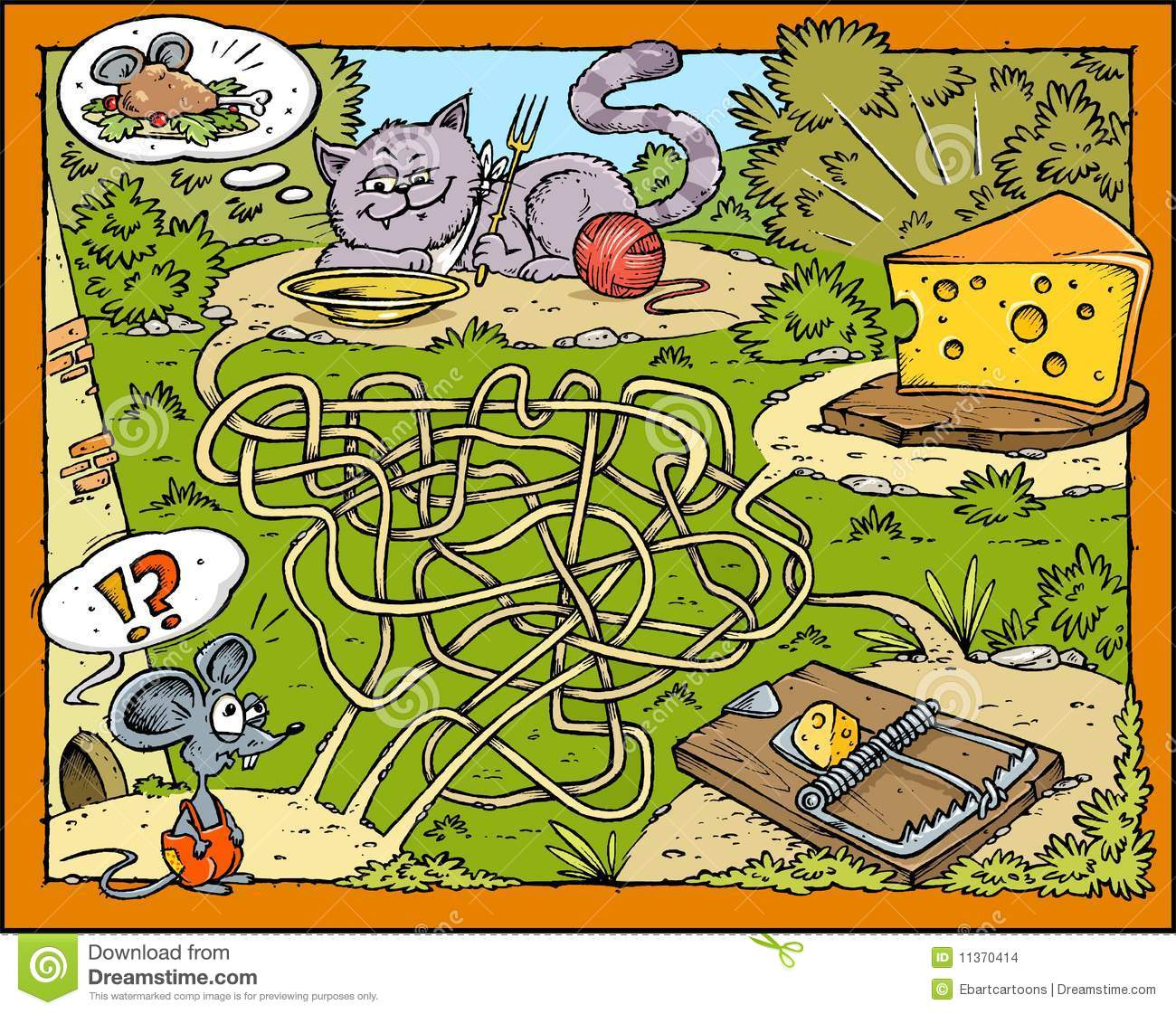 mouse cheese cat and trap labyrinth stock illustration