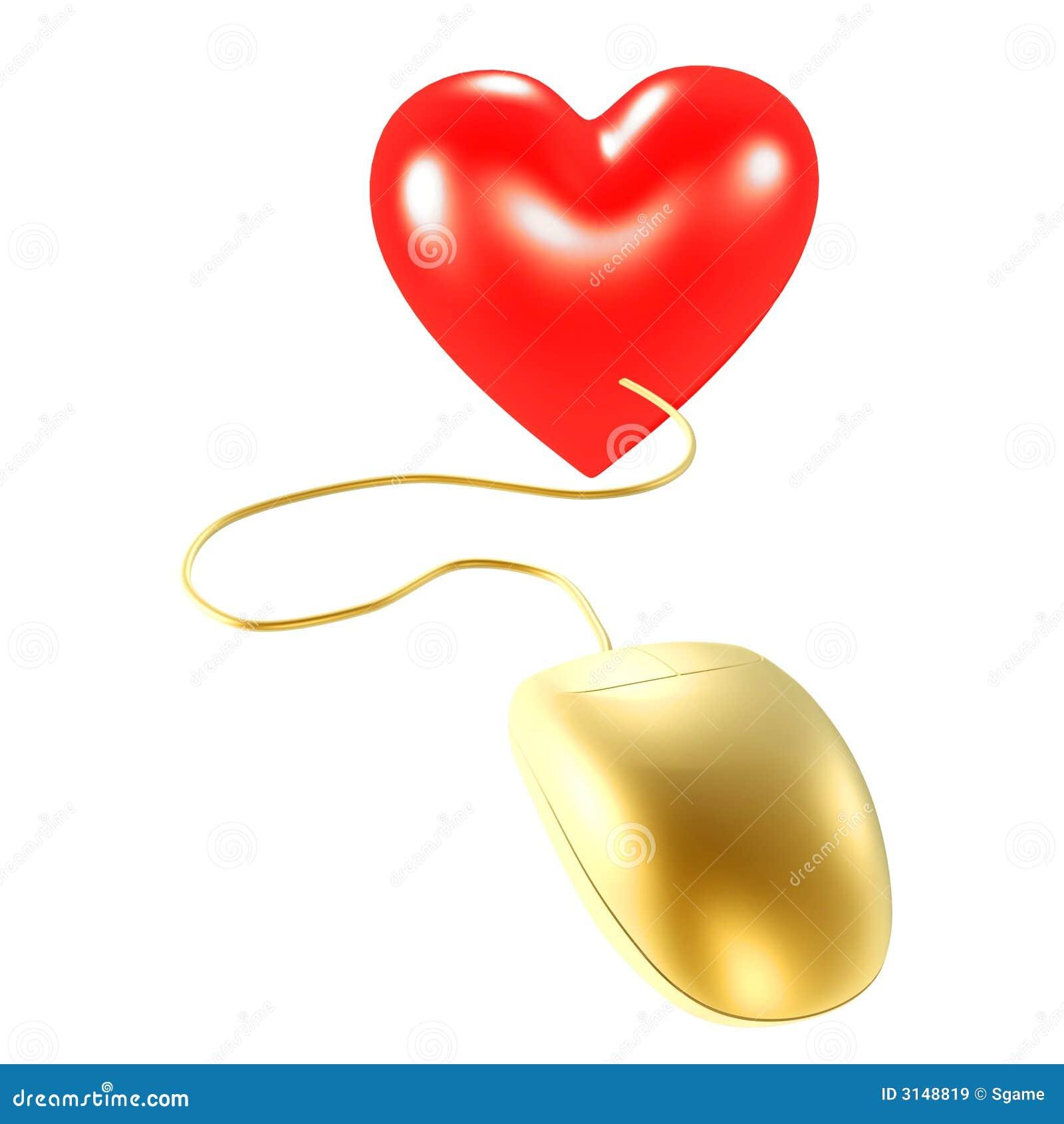 Mouse e cuore dorati