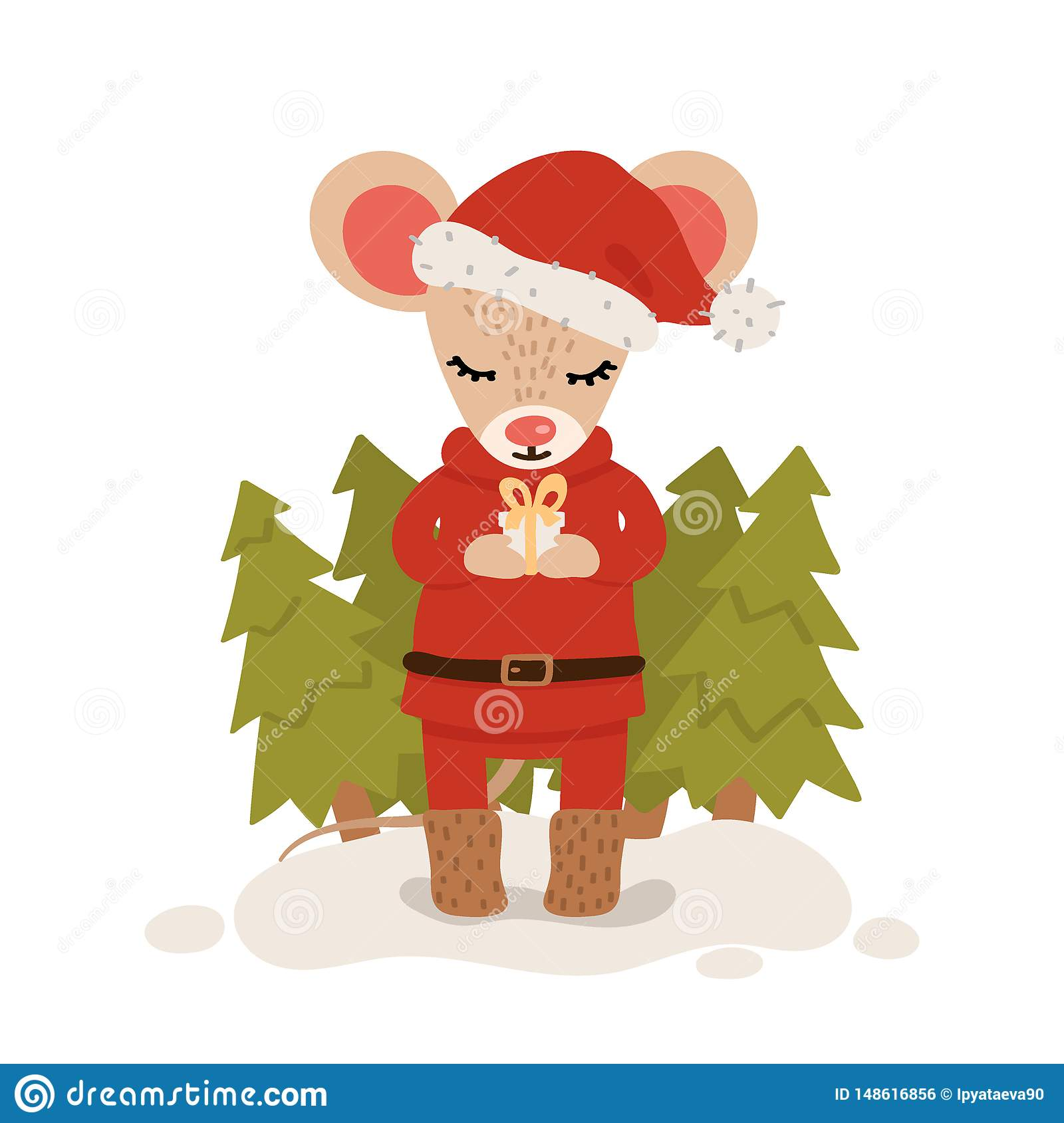 Mouse with gift box among christmas trees. Christmas and New Year character isolated on a white background. Postcard. Vector