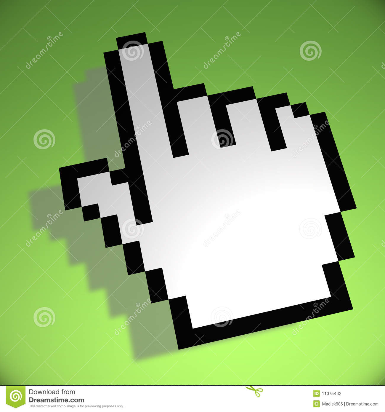 Mouse hand cursor on green background