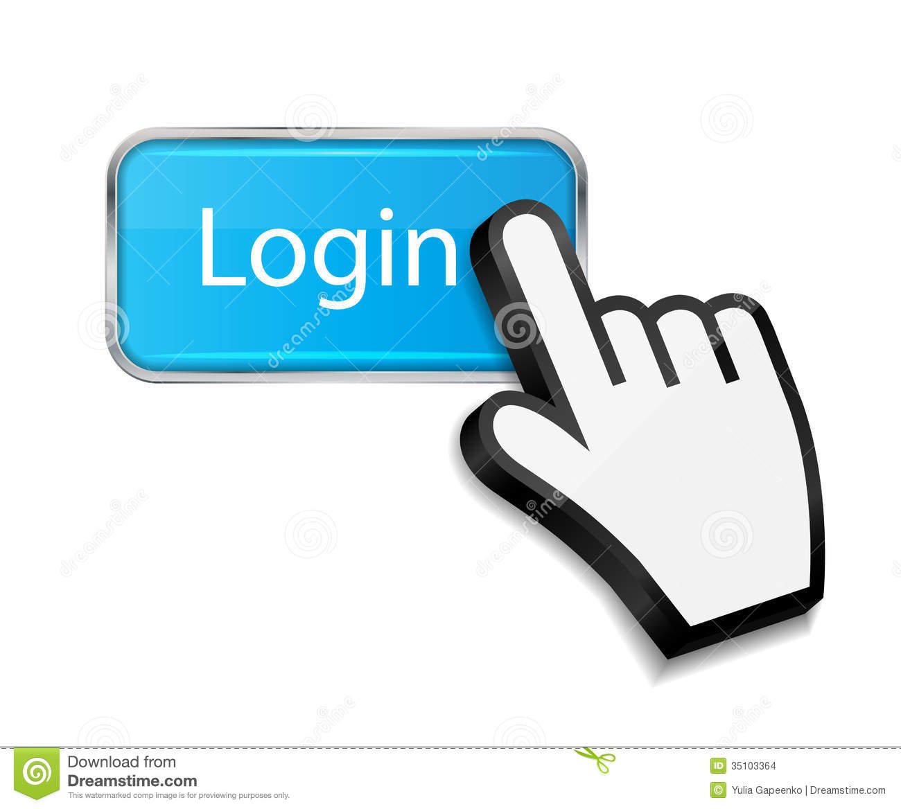Mouse Hand Cursor On Login Button Vector Stock Images ...