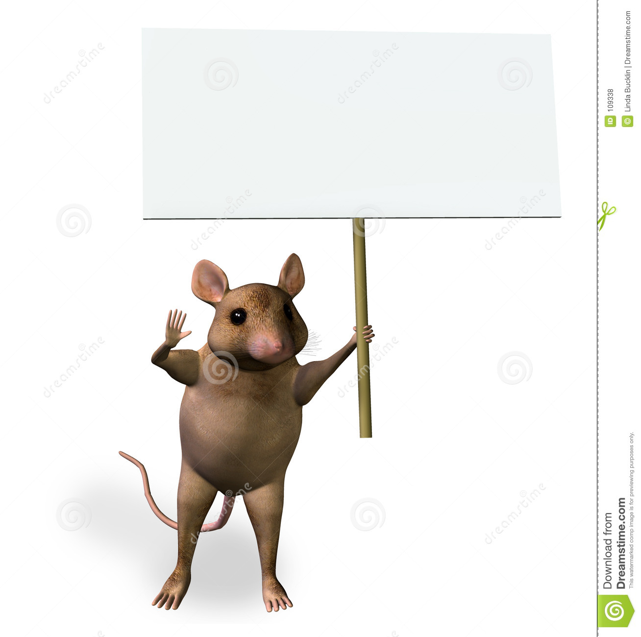 Mouse Holding a Blank Sign