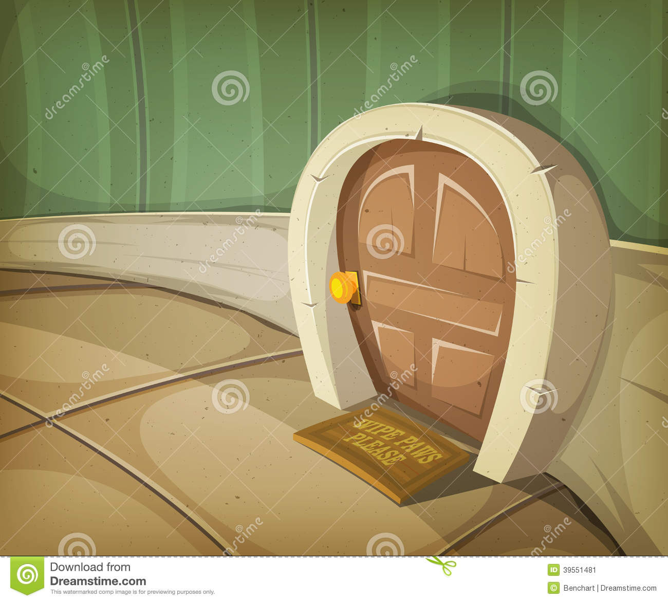 Illustration of a close view on a comic door entrance of mouse, elf or ...