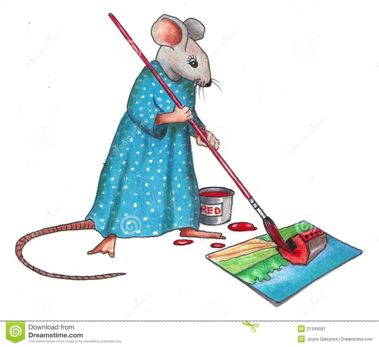 Mouse Making A Painting: Color Pencil Drawing Royalty Free Stock ...