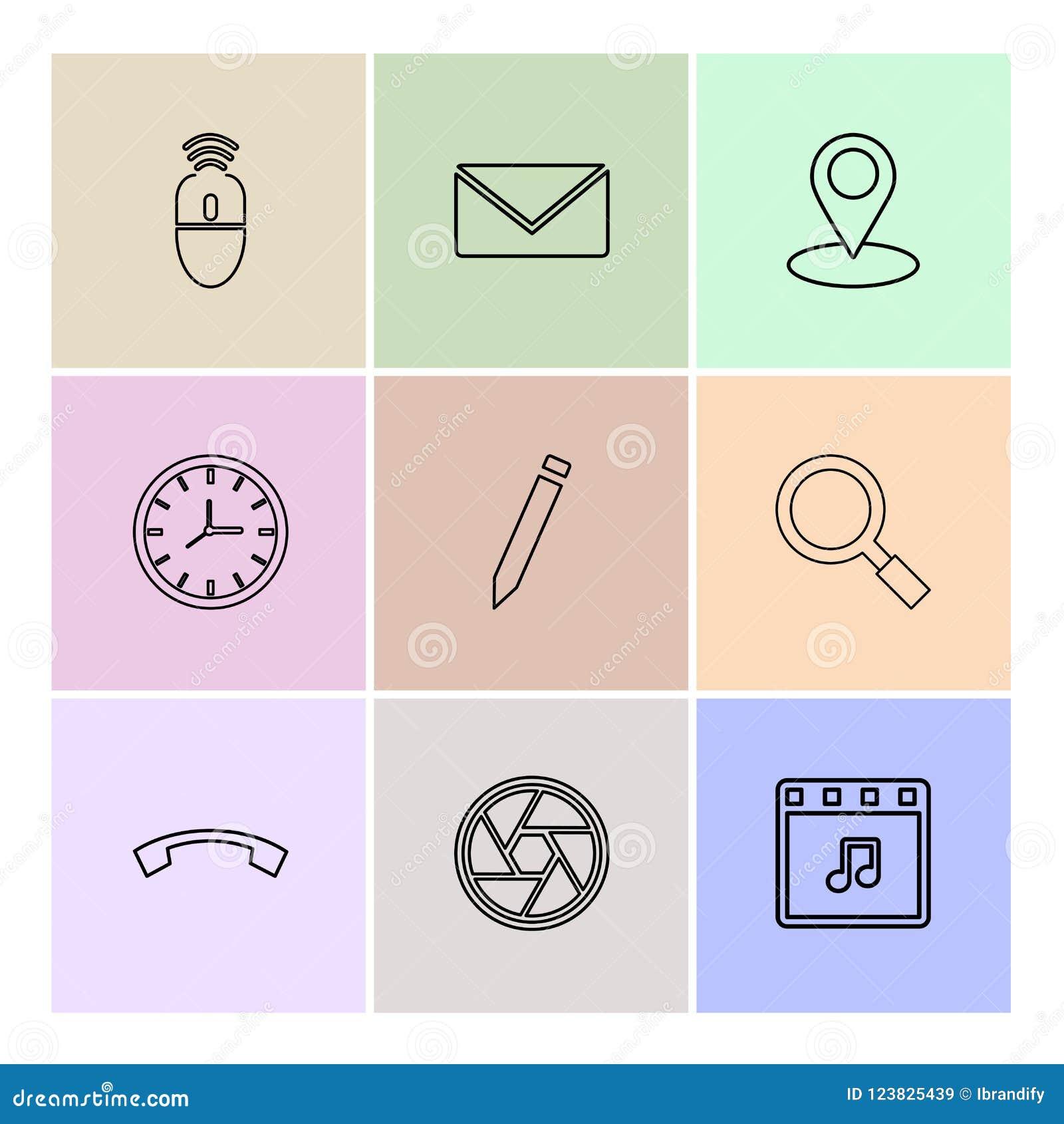 mouse, message ,navigation , search , music , clock , pencil , c