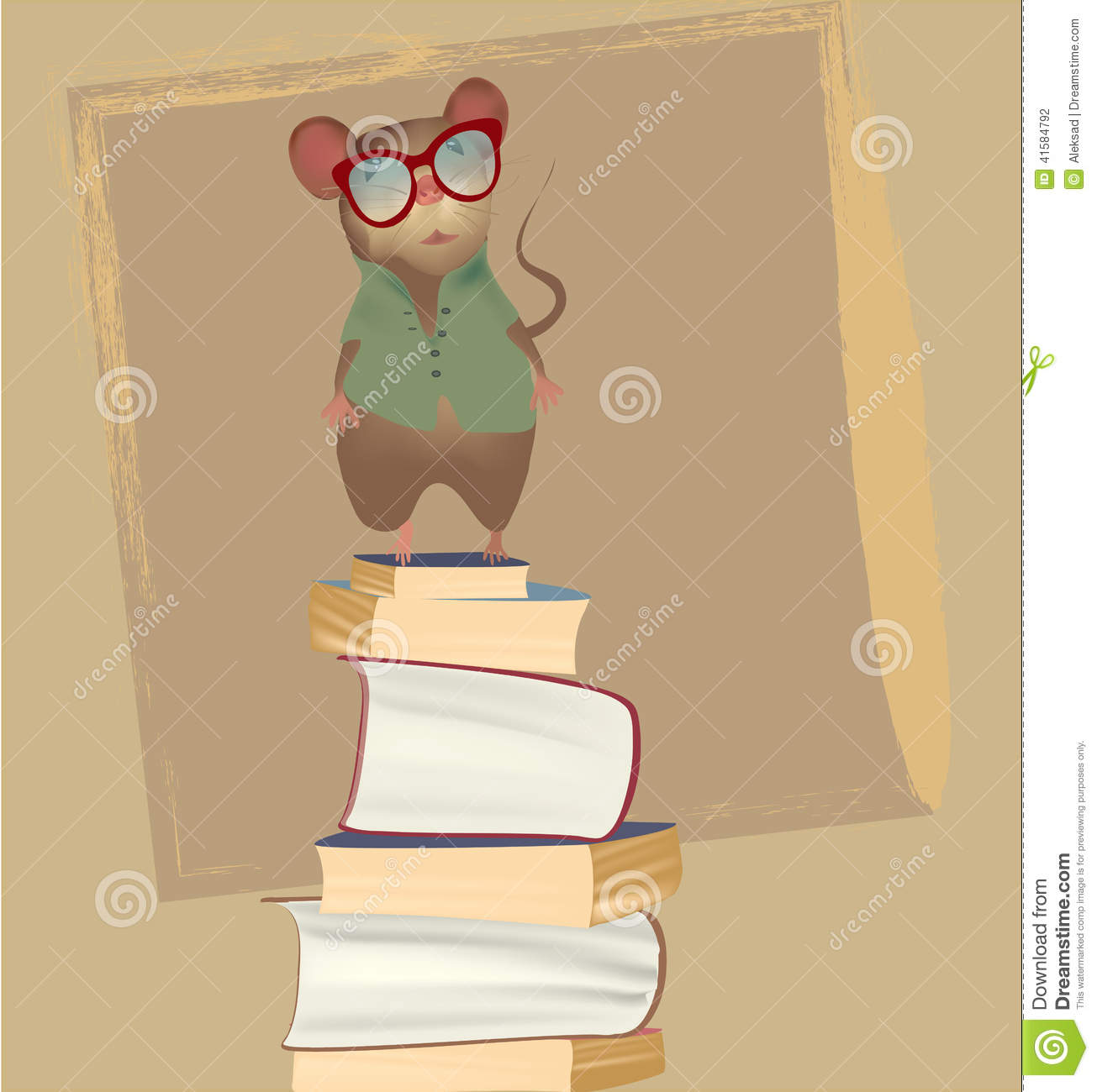 Mouse on a pile of books