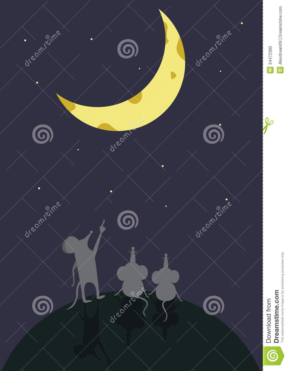 Mouse sitting moon surface association cartoon night sky shows royalty free stock photo biocorpaavc