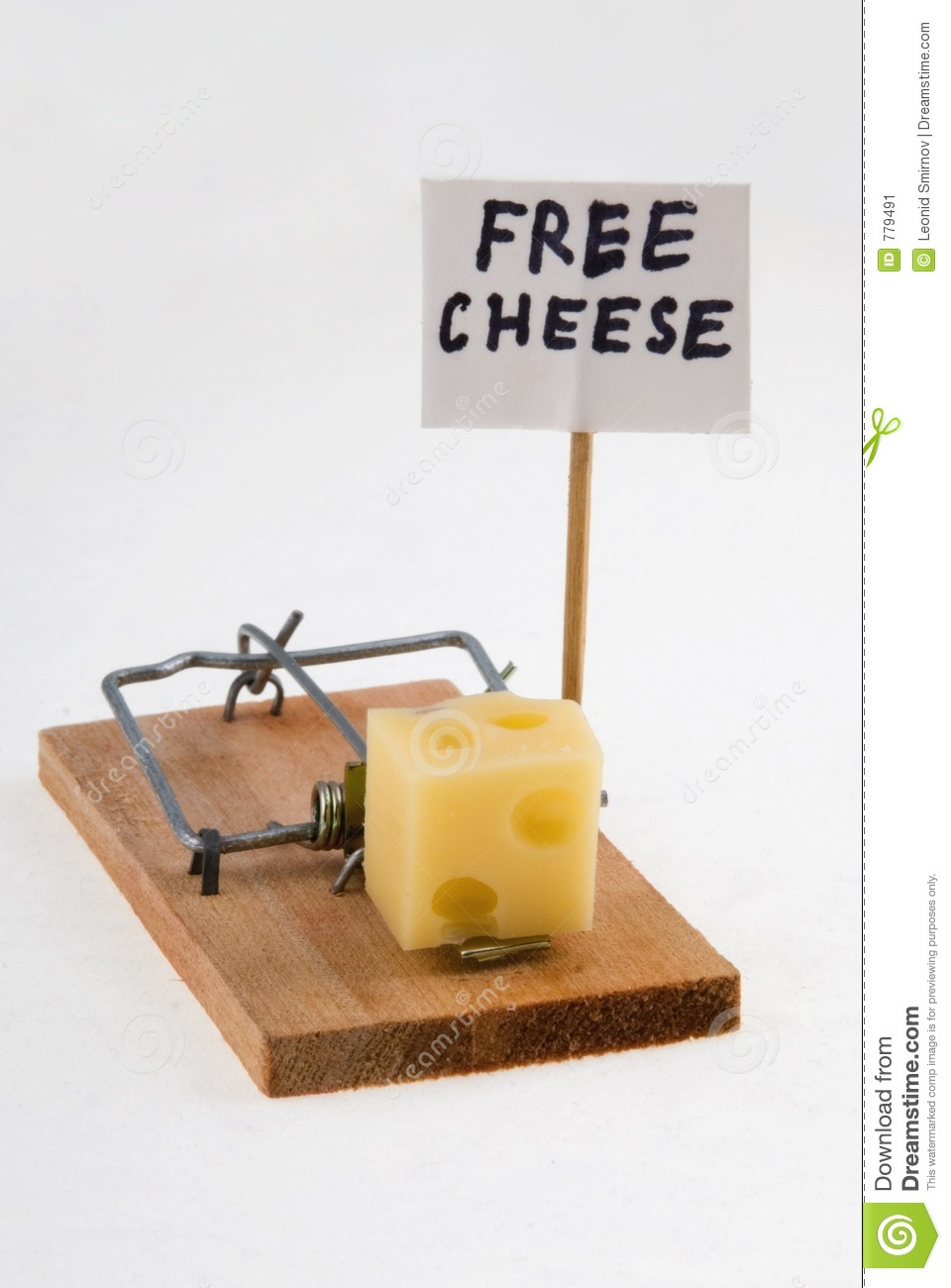 Mouse trap with cheese and Free Cheese sign.