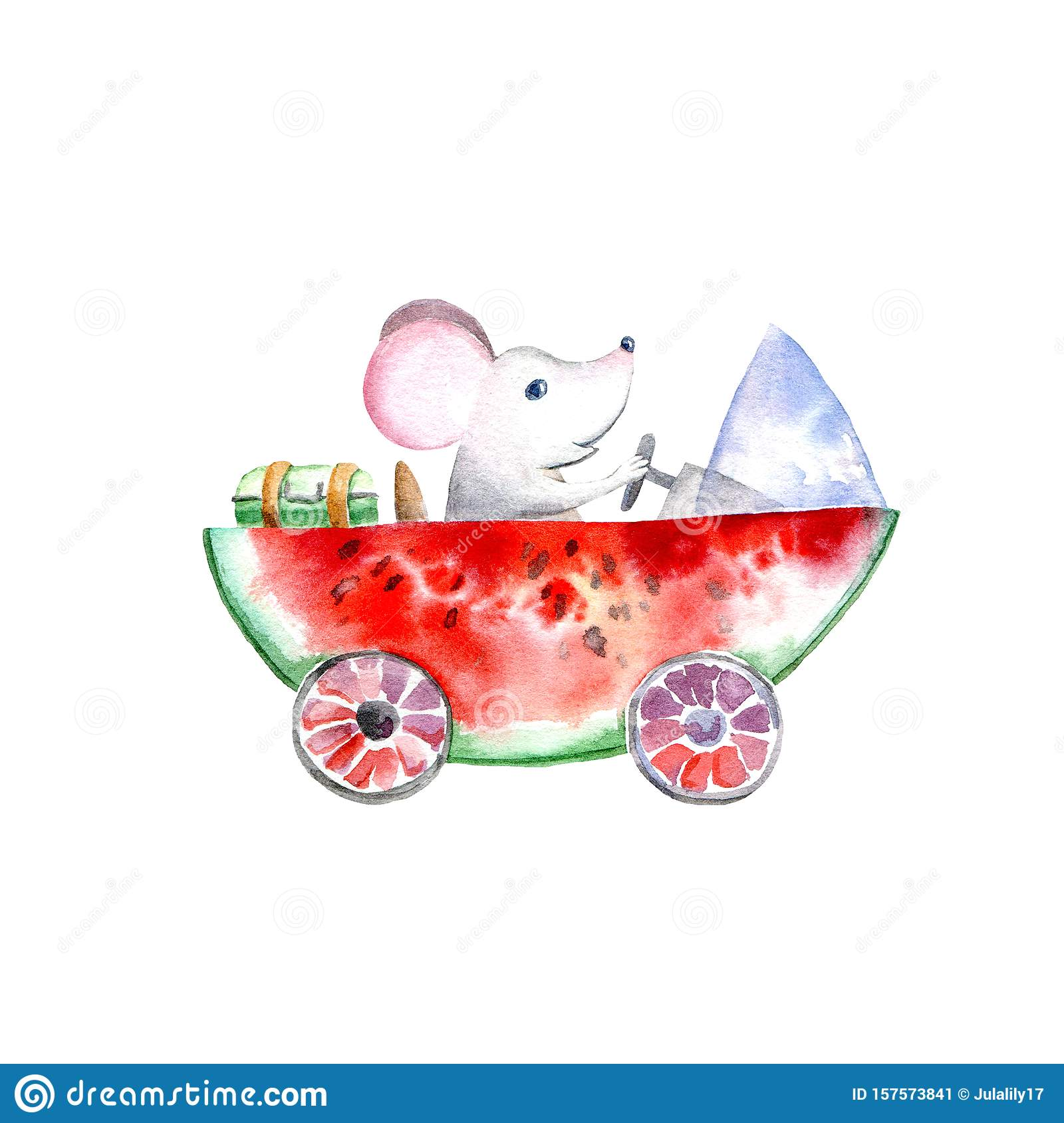 Mouse on a watermelon machine.Travel sketch.