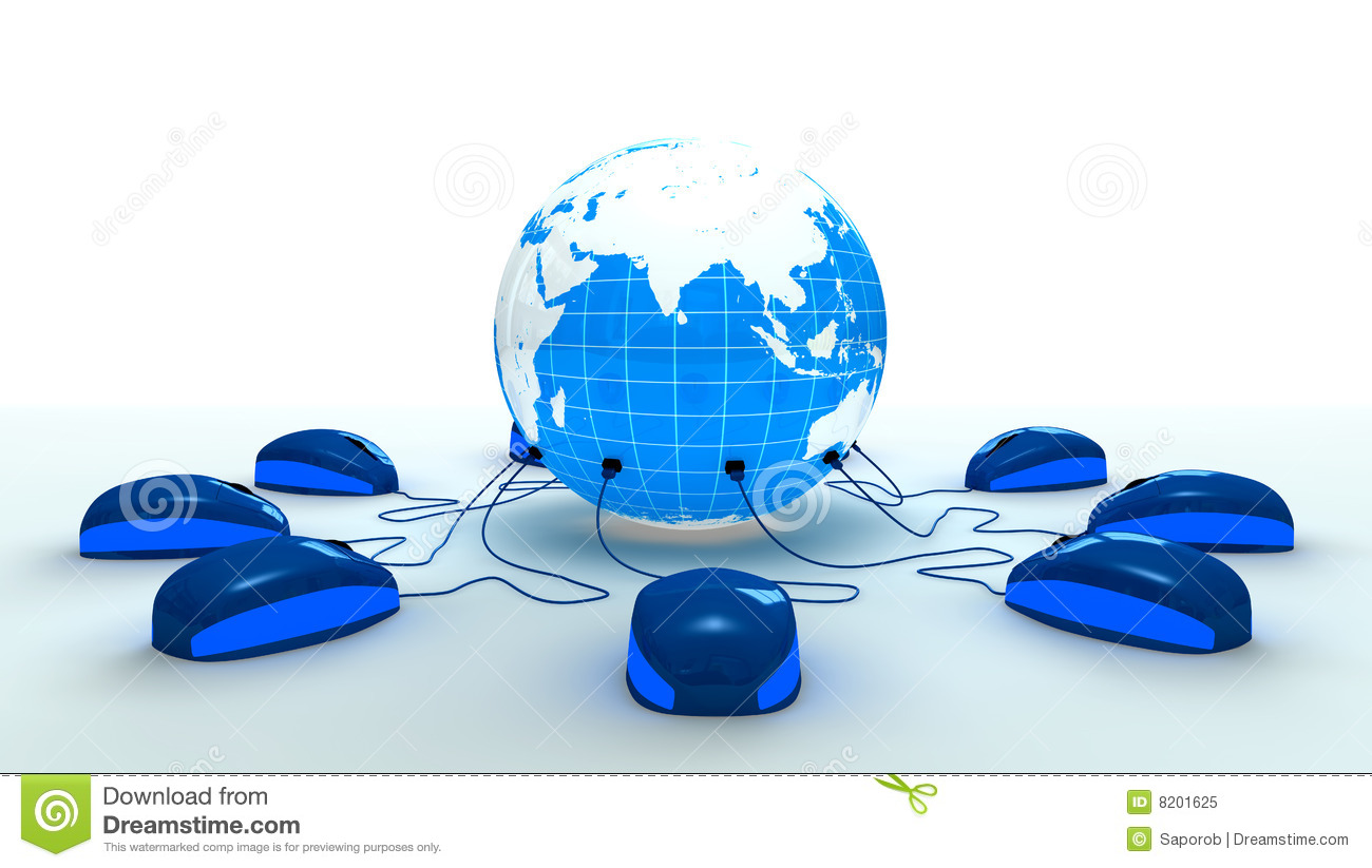 Mouses Connected To The World Royalty Free Stock Photo