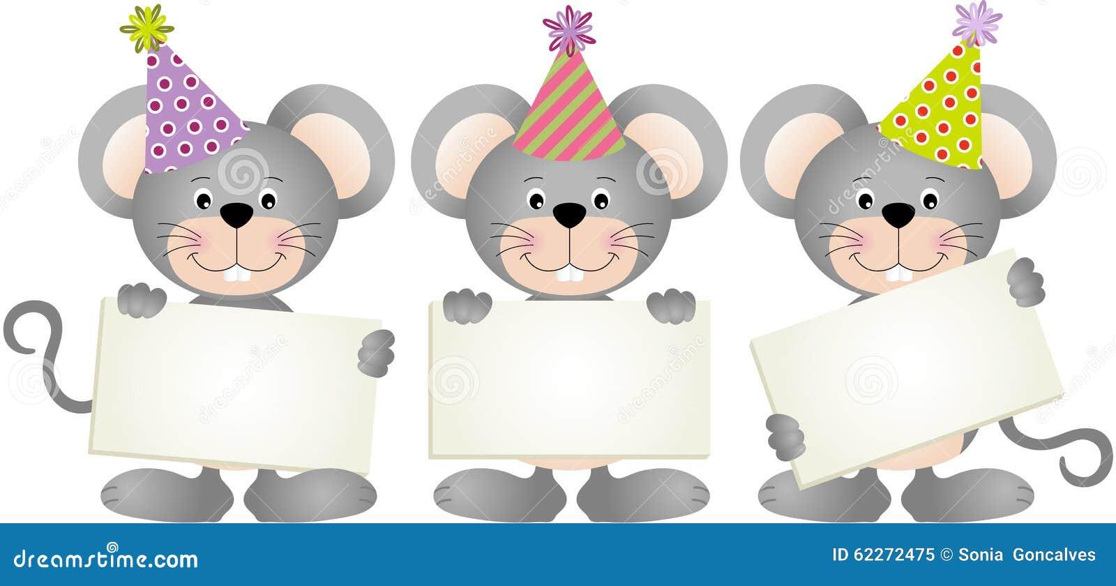 Mouses do aniversário com quadros indicadores
