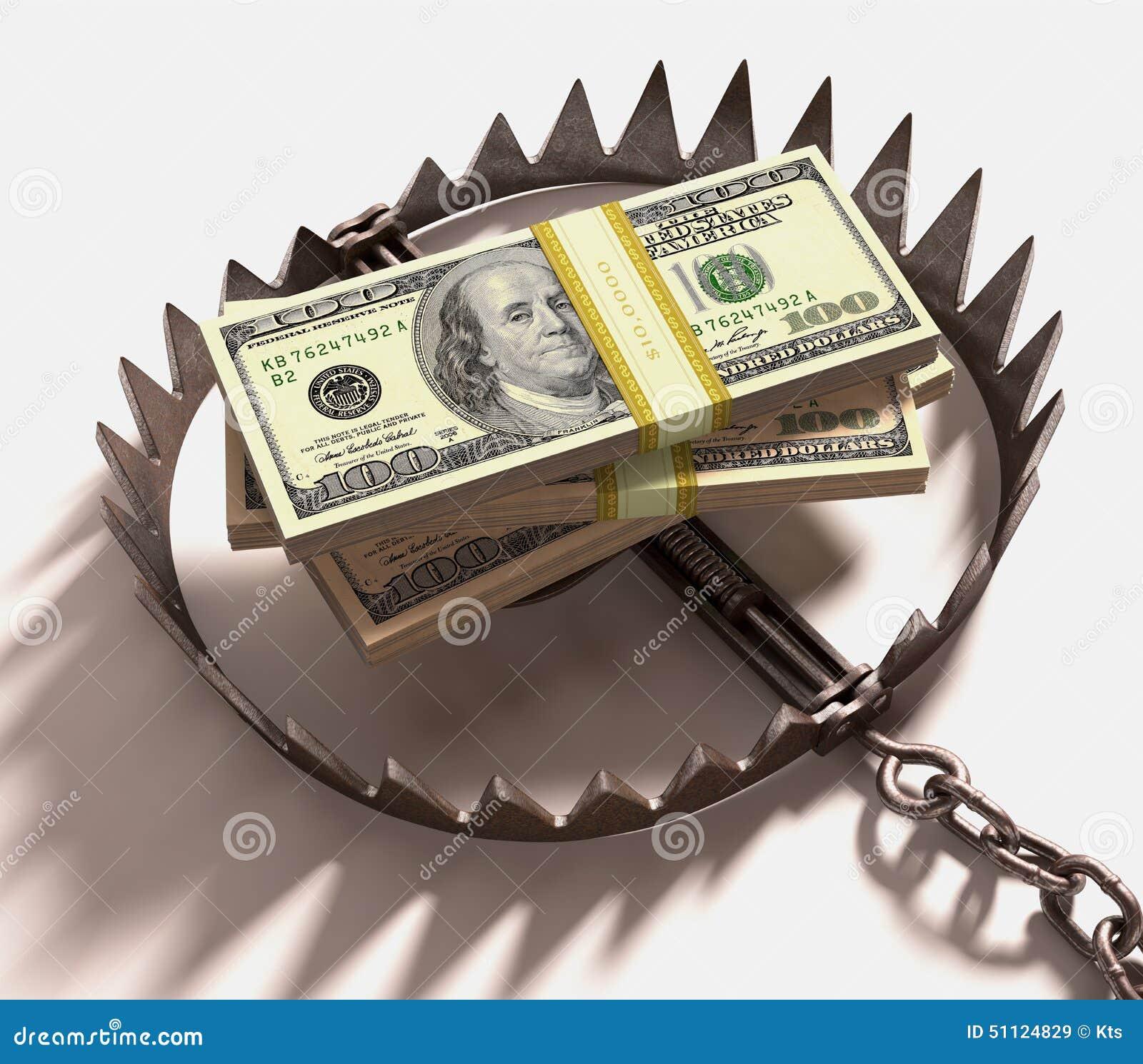 Mousetrap mit dem Dollarzeichen getrennt auf weißem Hintergrund