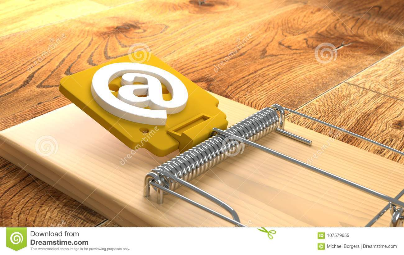 Mousetrap On Wooden Floor With An At Symbol Phishing Cybersecuri