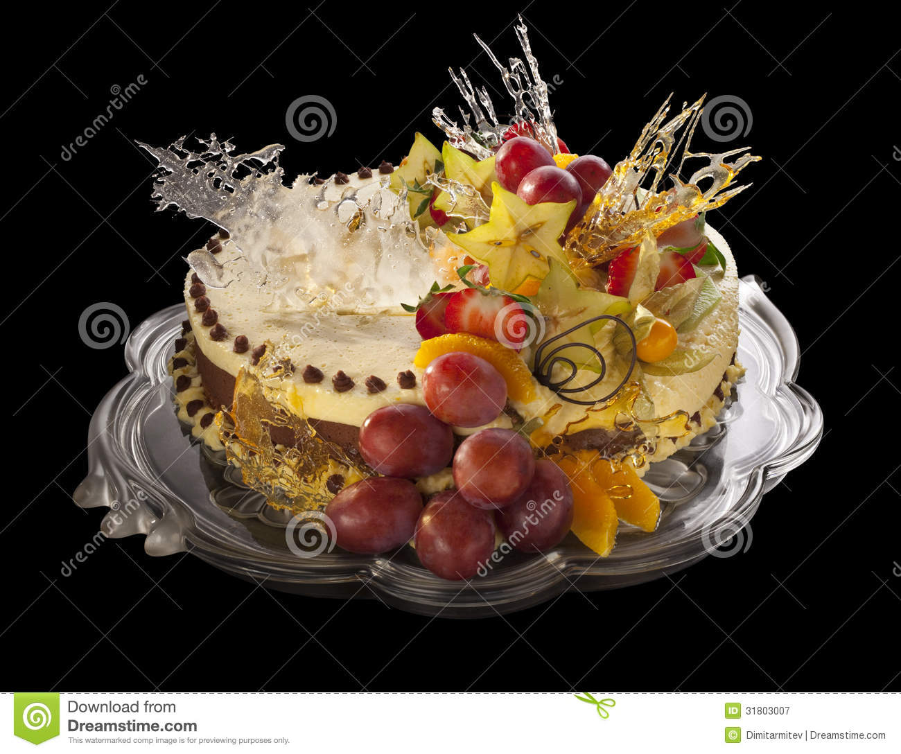 Mousse Cake Decorated With Fruits