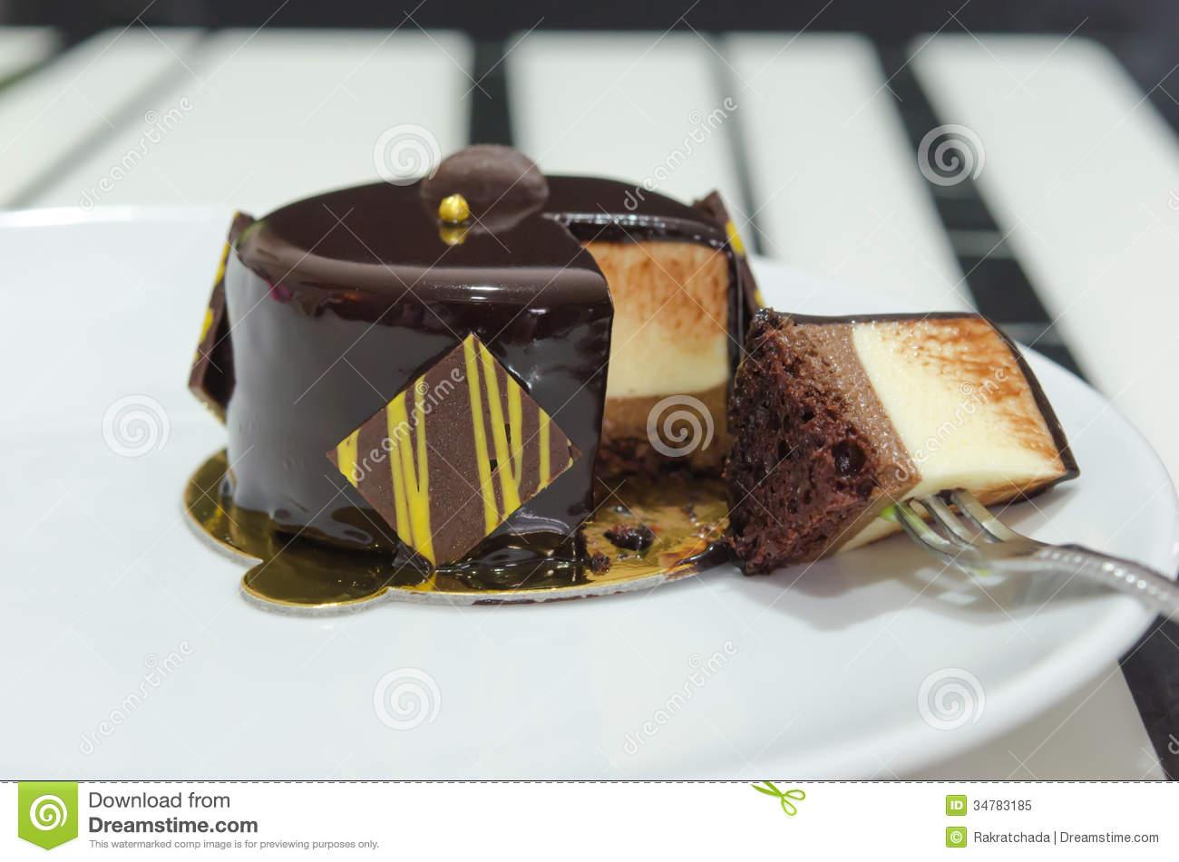 Mousse Cake With Fork Royalty Free Stock Photo - Image: 34783185