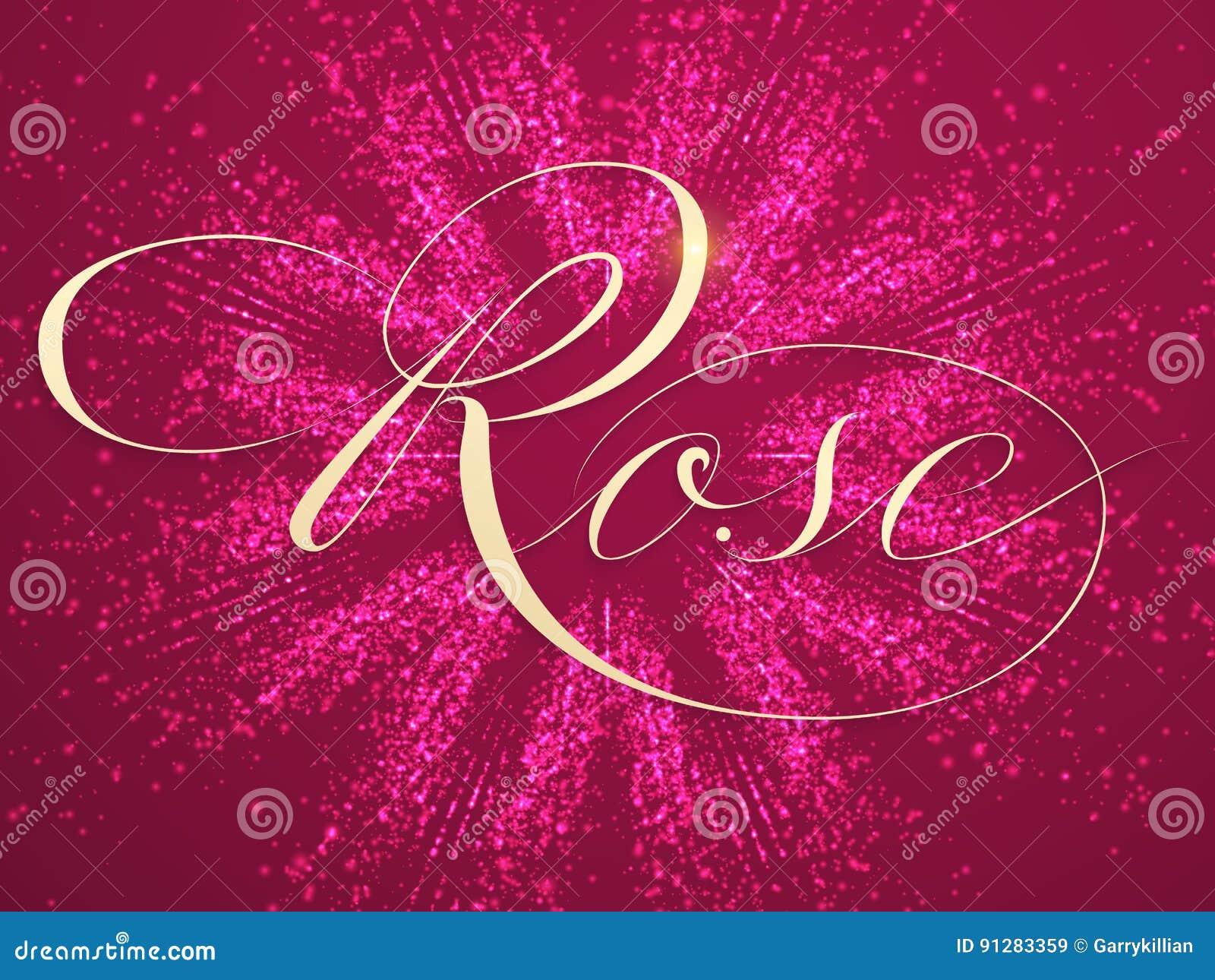 Mousserar elegant rosa bokstäver för vektorn på bakgrund med Härlig handskriven kalligrafi