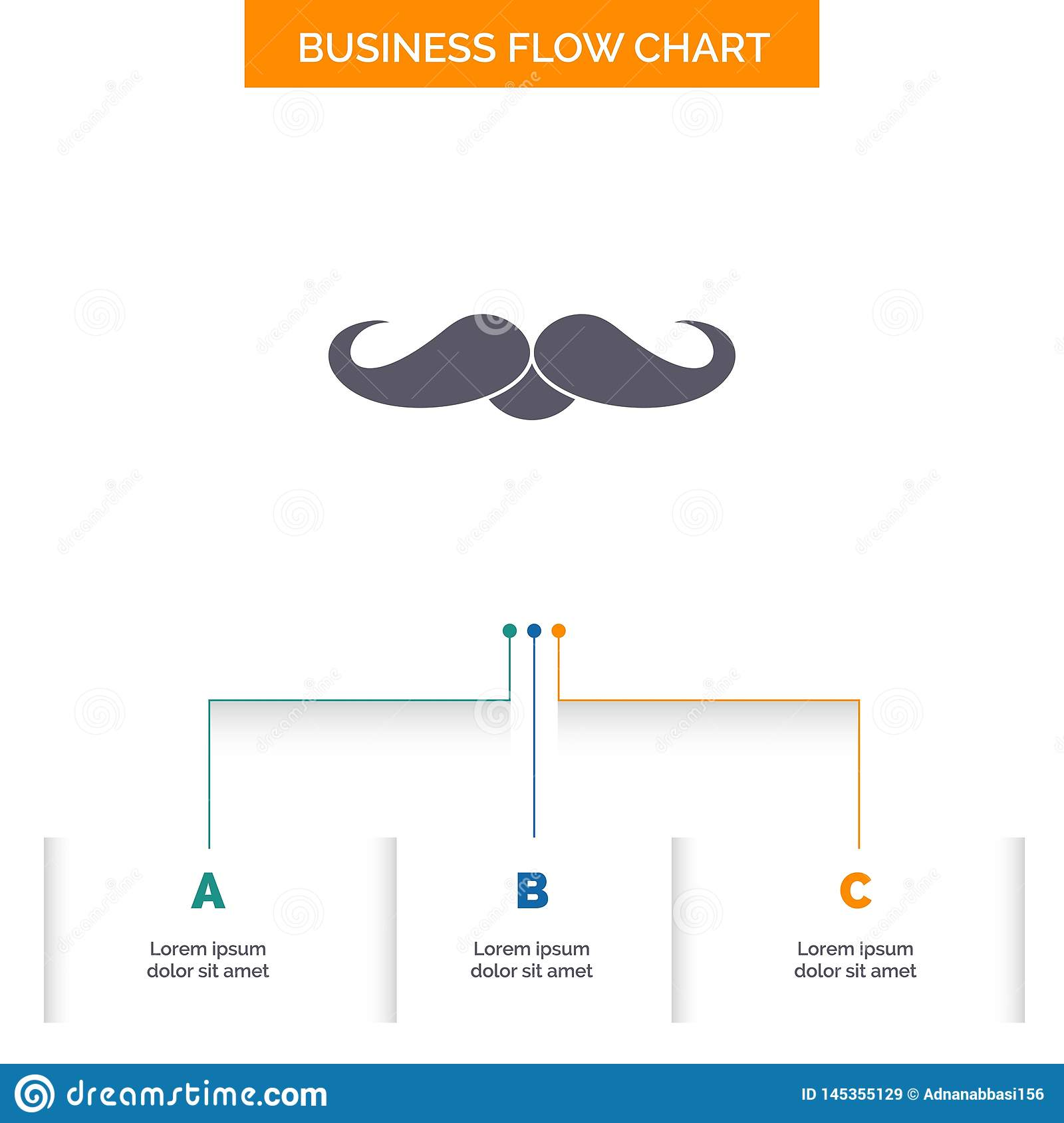 Moustache, Hipster, movember, male, men Business Flow Chart Design with 3 Steps. Glyph Icon For Presentation Background Template. Place for text.. Vector EPS10 royalty free stock images