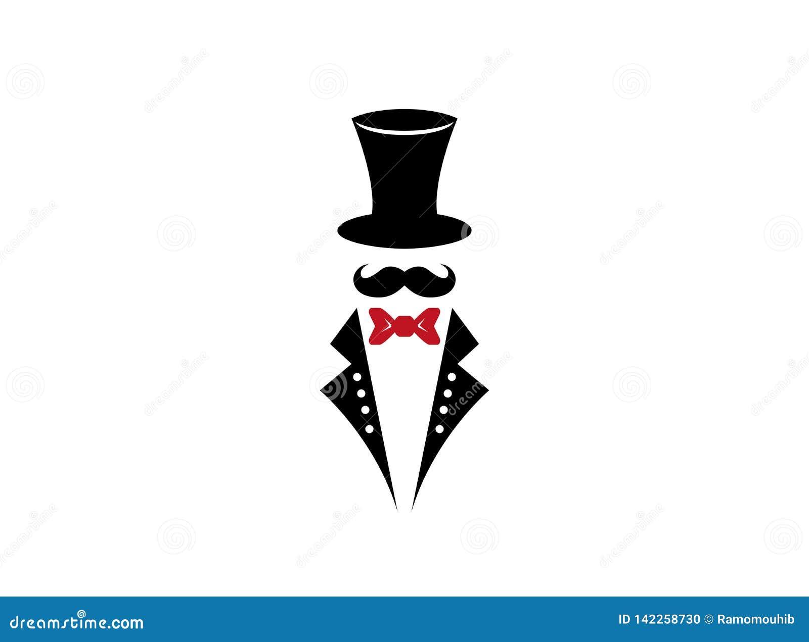 Moustache monochrome de chapeau d illustration avec le costume et le lien