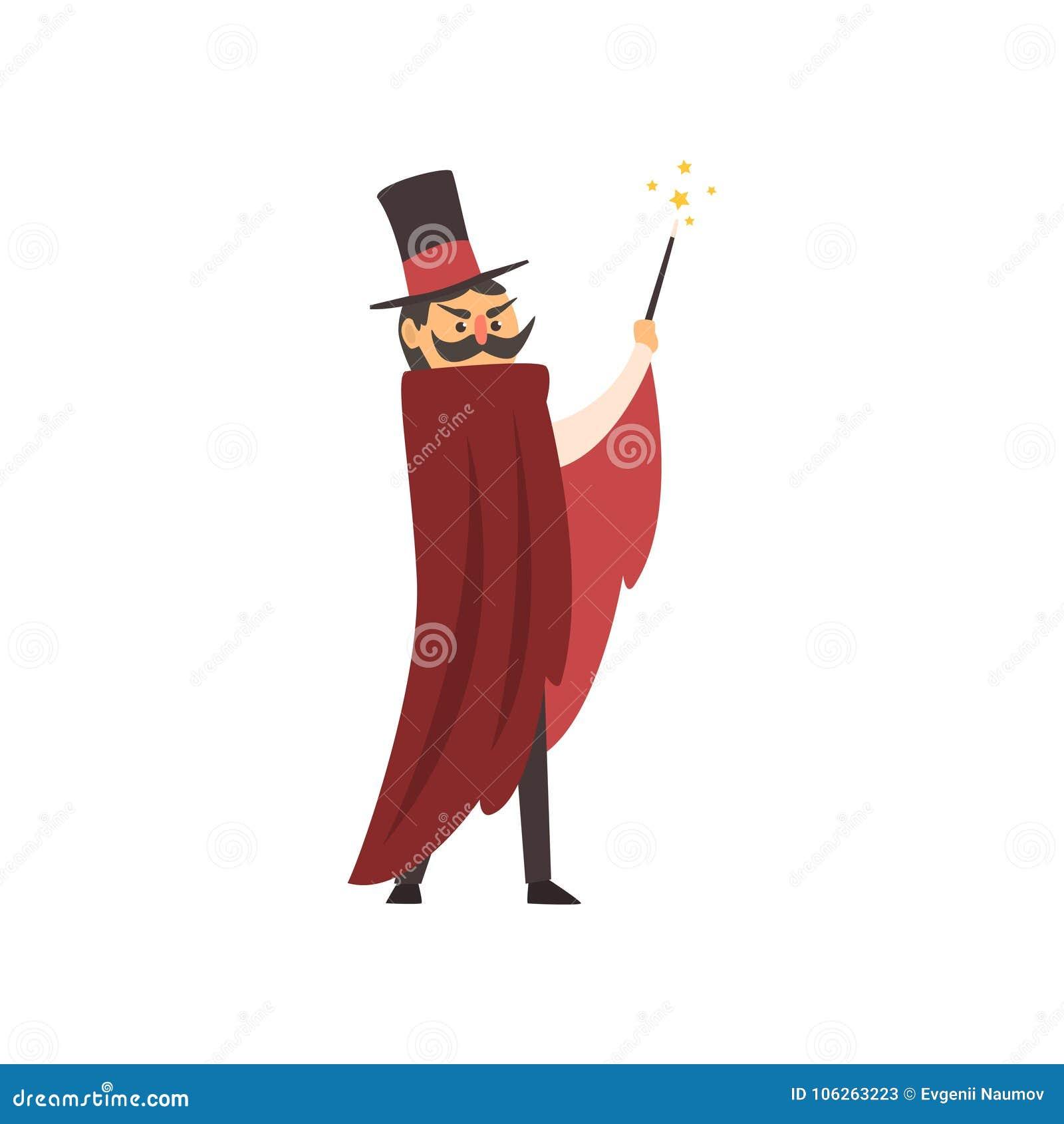 Moustachedillusionist die zijn toverstokje golven Het karakter van de beeldverhaaltovenaar met rode mantel en cilinderhoed circus