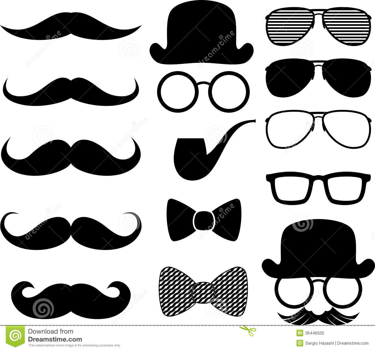 Set of black moustaches silhouettes and design elements isolated on ...