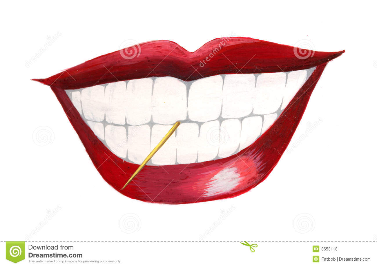 mouth with toothpick stock illustration image of Cartoon Lips Template Cartoon Red Lips