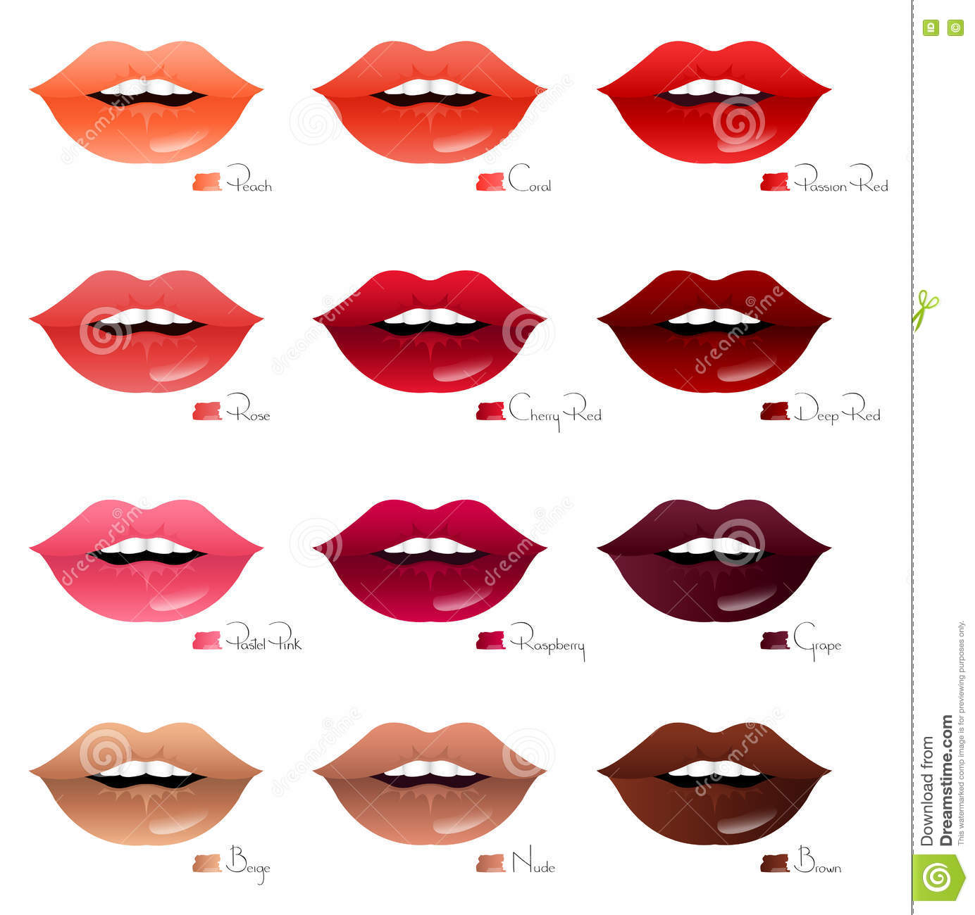 Different Shades Of Red mouths with different shades of lipsticks stock vector - image