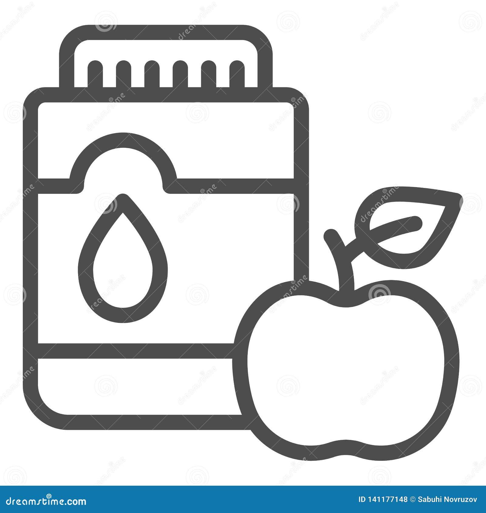 Mouthwash с линией значком яблока Иллюстрация вектора рта антисептиковая изолированная на белизне Дизайн стиля плана зубоврачебно