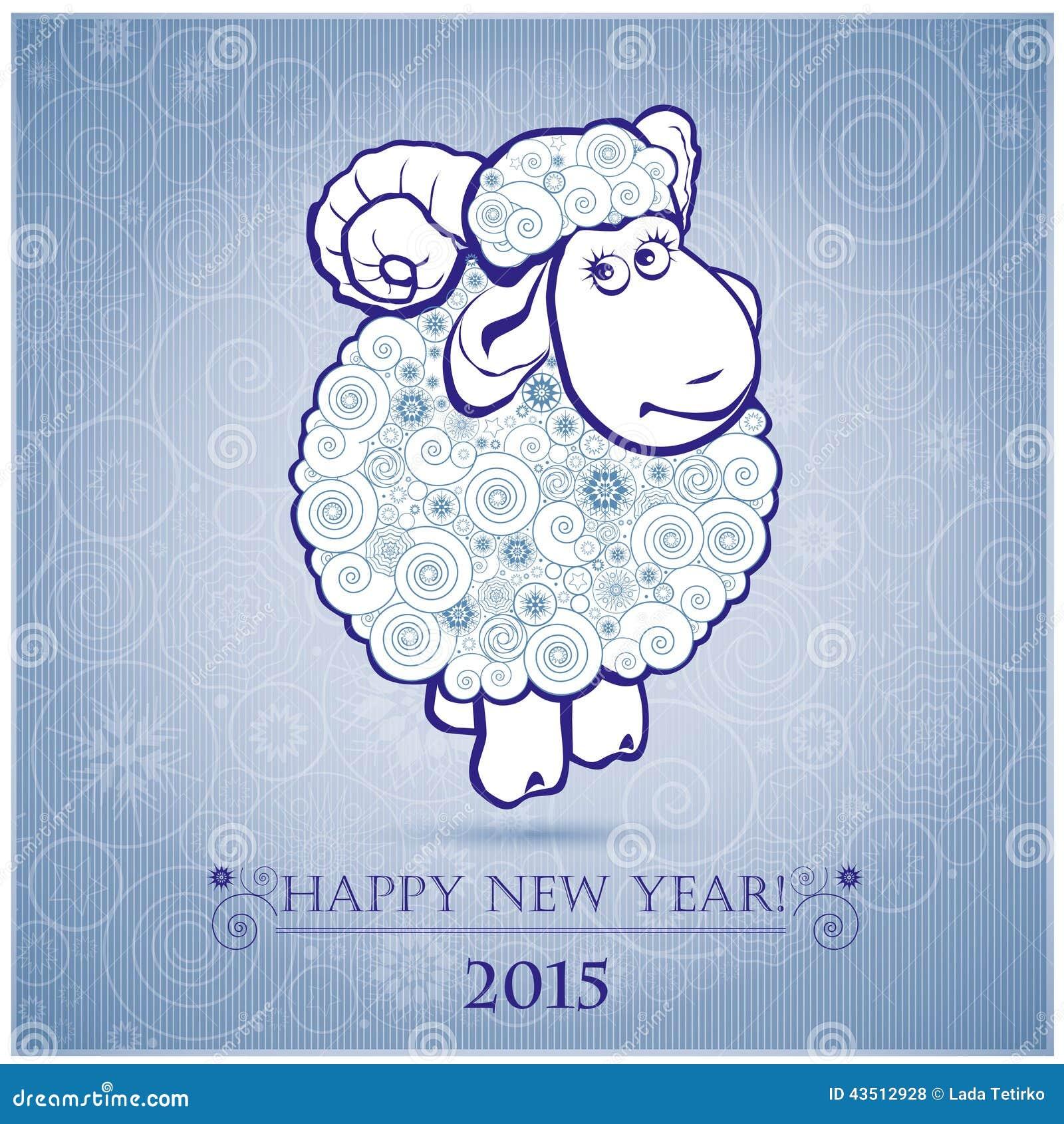 Moutons drôles sur le fond blanc des flocons de neige 2