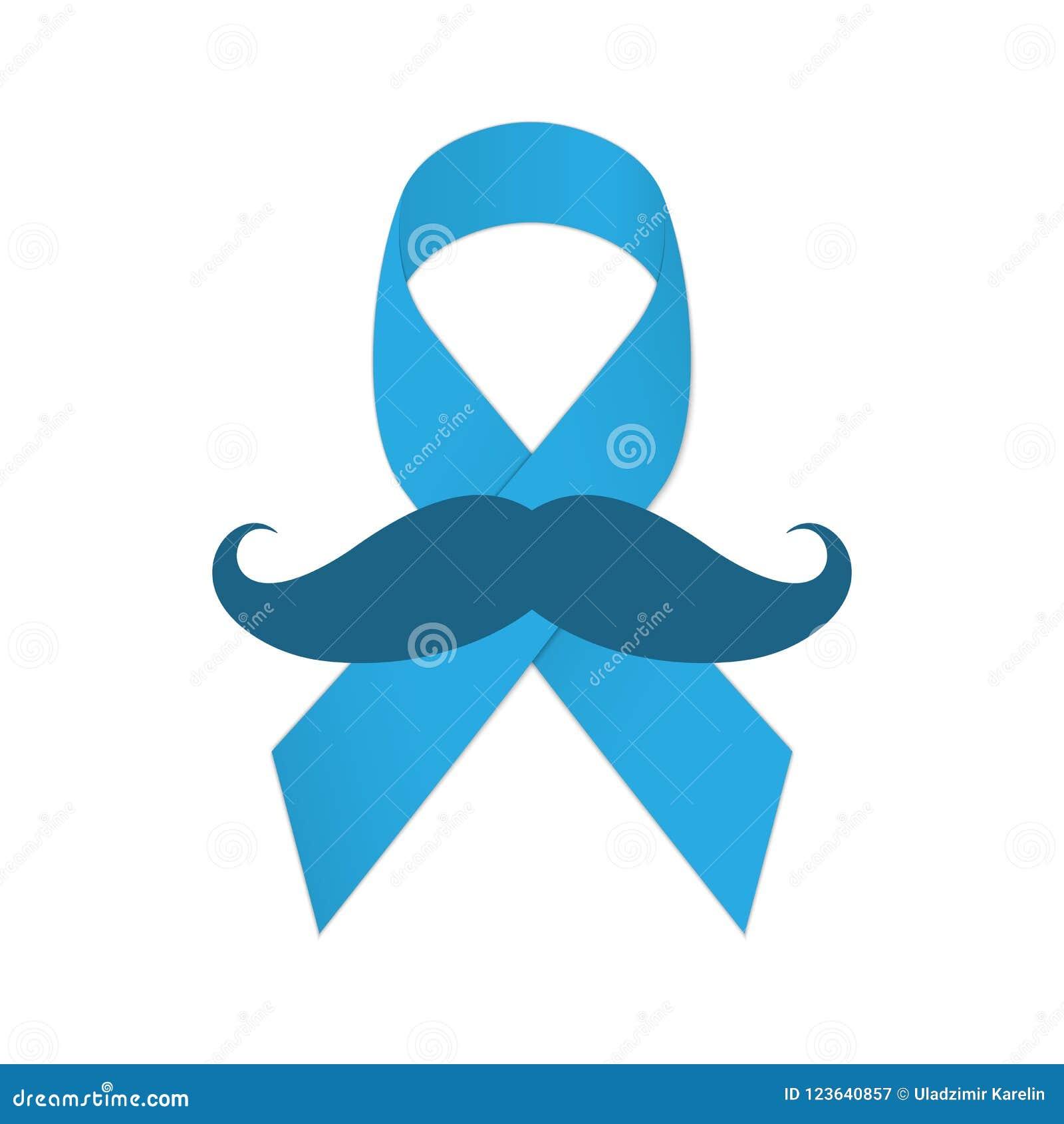 Movember-Ikone Schnurrbart und blaues Band als Symbol des Kampfes mit Krebs