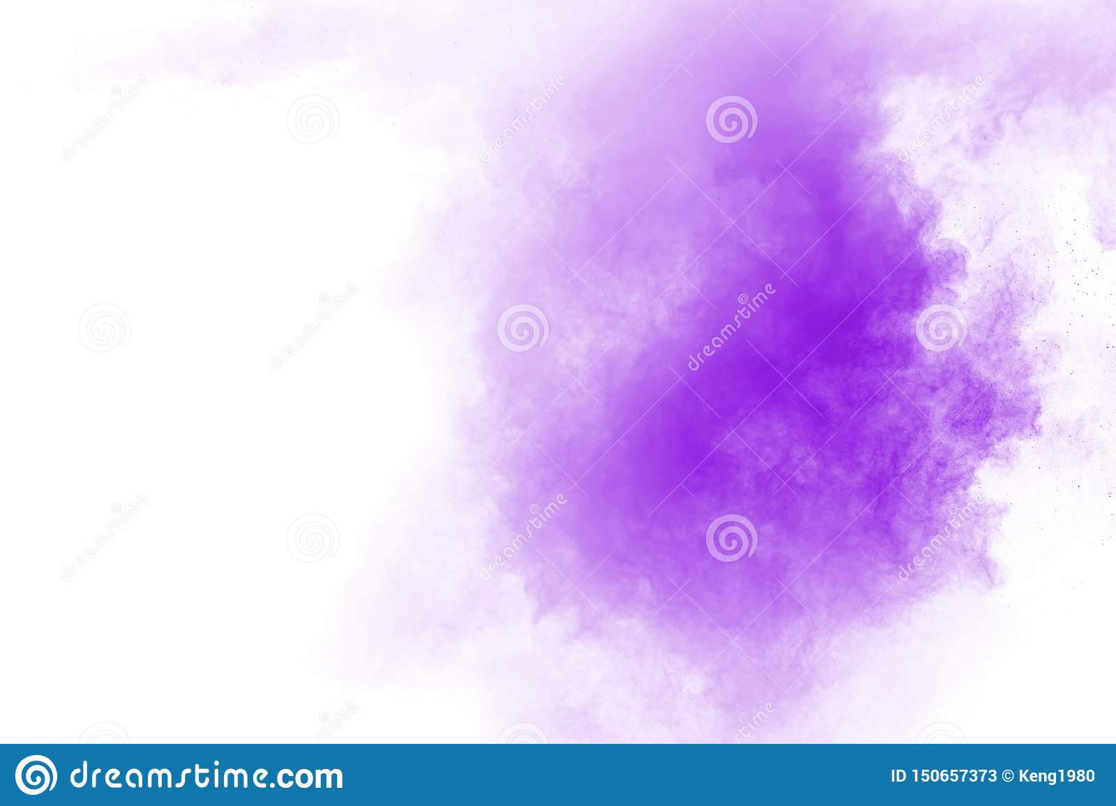 The movement of abstract dust explosion frozen purple on white background.
