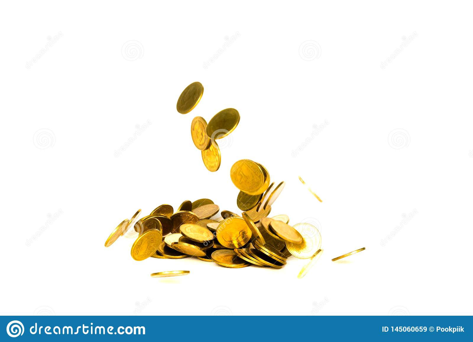 Movement of falling gold coin, flying coin, rain money isolated on white background, business and financial wealth and take profit