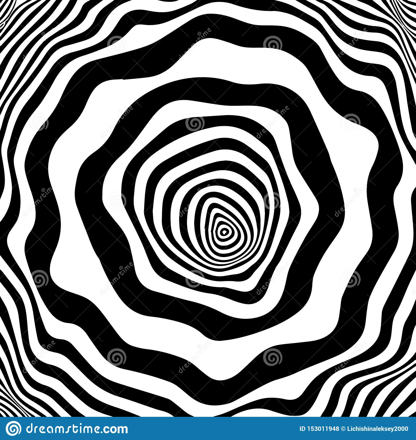 Tunnel or wormhole. Movement lines illusion. Abstract wave whith black and white curve lines. Vector optical illusion
