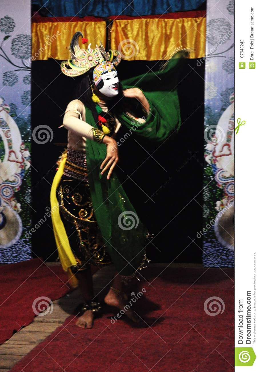 A Movement In Traditional Mask Malang Dance Performence Stock Photo Image Of Traditional Movement 107643242