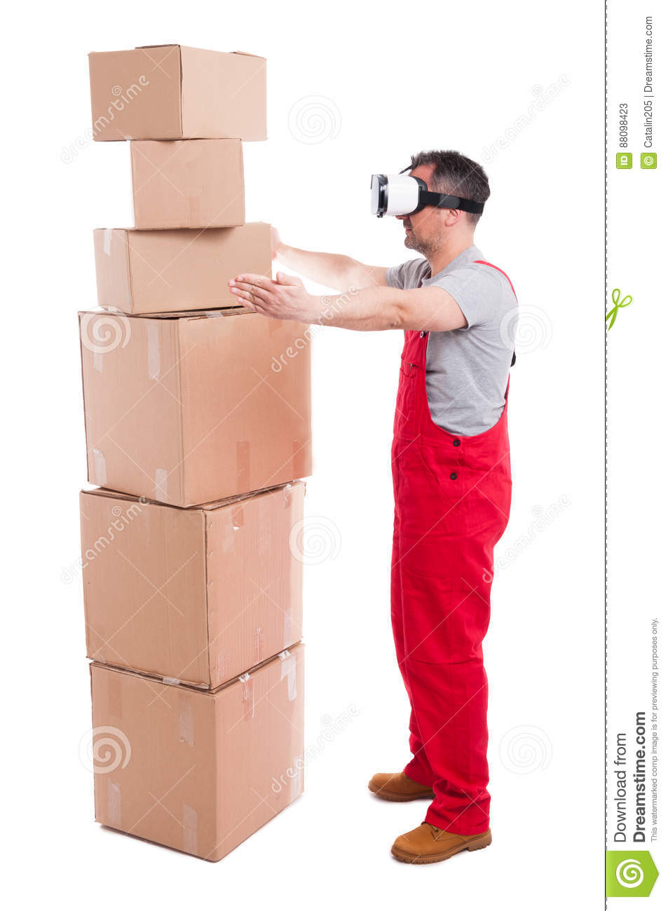Mover Man Wearing Virtual Reality Glasses Measuring Boxes Stock ...