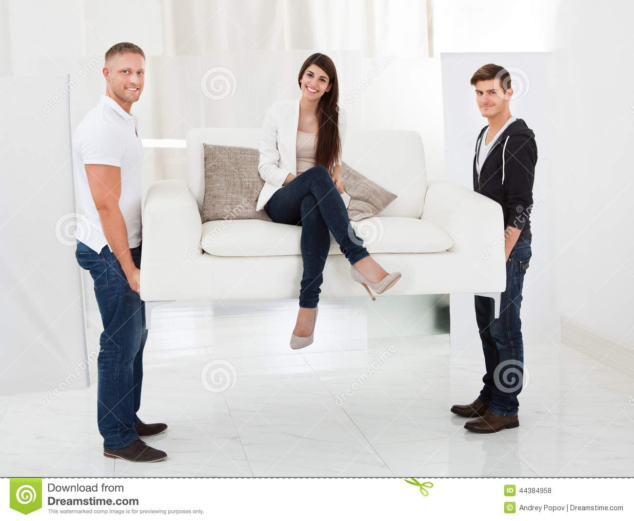 Movers Carrying Sofa With Client Stock Photo Image 44384958