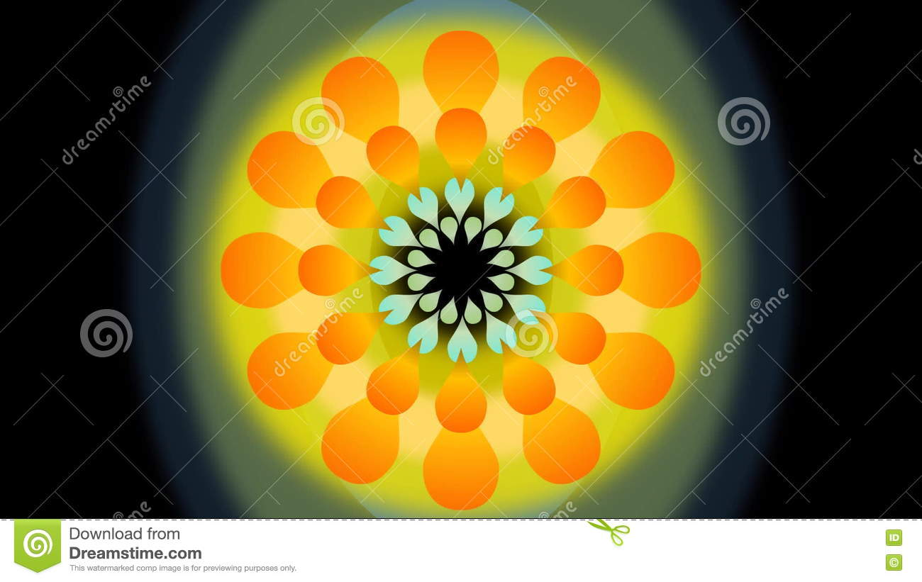 Movie of abstract dancing flower with blurry circle yellow and movie of abstract dancing flower with blurry circle yellow and orange fantasy rotating flower shape on black background mightylinksfo