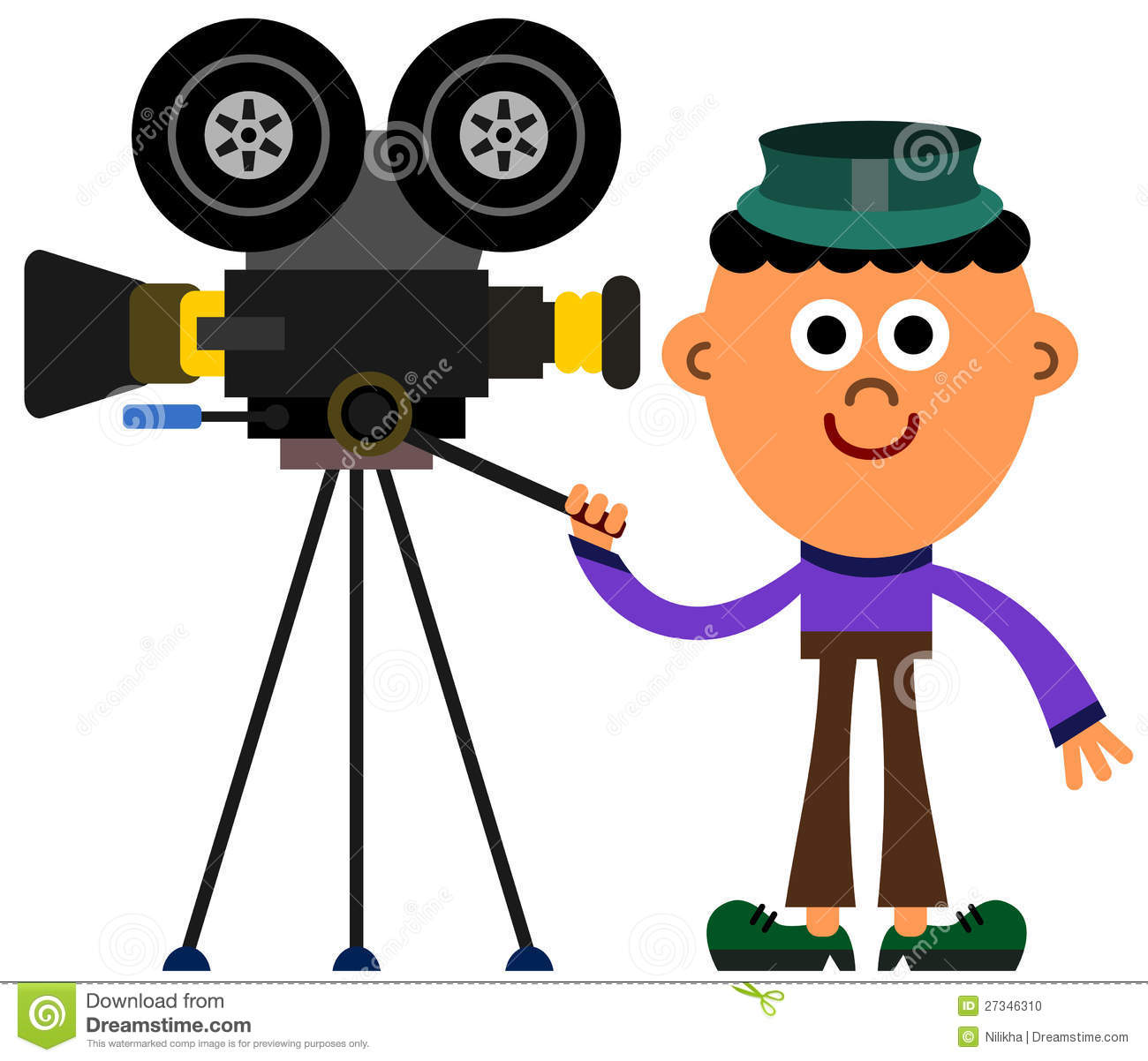 Cartoon illustration of a man with a movie camera.