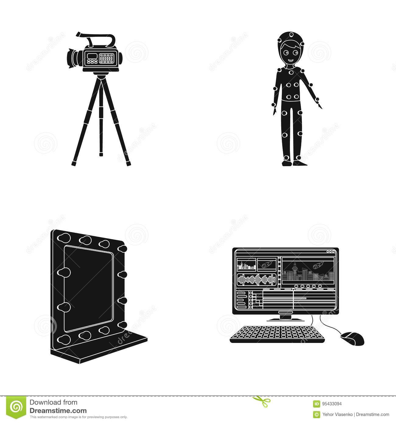 A movie camera, a suit for special effects and other equipment. Making movies set collection icons in black style vector